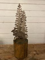 Bäume mit Reh Zink/Holz h36cm