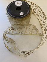 Dekoband gold transparent Eisblumen Muster 2,7m lang 6,3cm breit