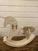 Holzpferd mit Birkenrinde 23x20cm