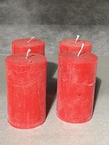 4 Kerzen durchgefärbt rot 60/100mm Brennzeit 38Std