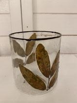 Glasvase oder Windlicht mit eingegossenen Blättern dia 10cm h 10cm