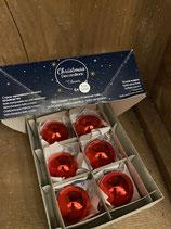 6 Glaskugeln Christmas Red glänzend dia 5cm