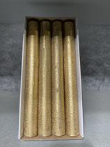 4 Stabkerzen durchgefärbt altgold 34/300mm Brennzeit 30Std