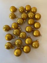 24 Glaskugeln Mix ocker matt und glänzend dia 2,5cm