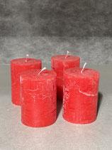 4 Kerzen durchgefärbt rot 60/80mm Brennzeit 28Std