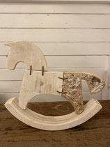 Holzpferd mit Birkenrinde 27x31cm