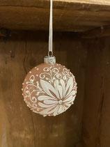 Glaskugel blush pink mit Glitzer und Ornamenten dia 8cm