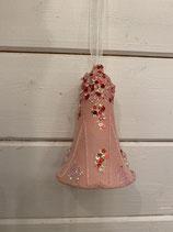 Anhänger Glasglocke rosa mit Palietten 7x10cm