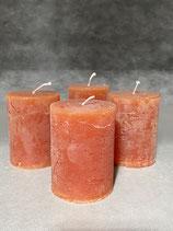 4 Kerzen durchgefärbt cognac 60/80mm Brennzeit 28Std