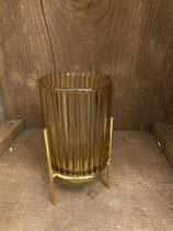 Windlicht retro gold mit Längsstreifen dia 9cm h 17cm