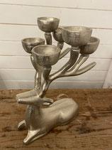 Hirsch silber liegend Kerzenständer für Teelicht 30x20cm