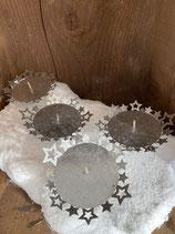 4 Kerzenhalter silberoptik mit Sternen dia 8cm