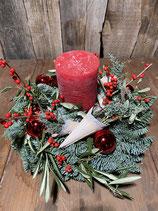 Adventsgesteck Winter Red mit Kerze Nobilis