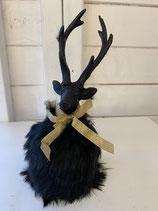 Dekohirsch schwarz mit Schleife und Plüsch h 21cm