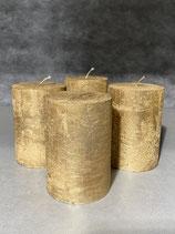 4 Kerzen durchgefärbt altgold 70/100mm Brennzeit 45Std