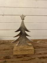 Baum silber auf Holzfuß h 16cm