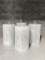 4 Kerzen durchgefärbt hellgrau 50/80mm Brennzeit 20Std