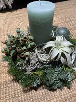 Adventsgesteck Tillandsie mit Kerze Mix rund dia 30cm