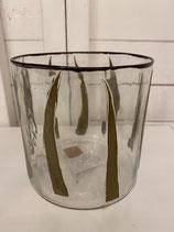 Glasvase oder Windlicht mit eingegossenem Blatt dia dia 15cm h 15cm