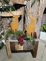 Dekokasten gepflanzt Hirsche h 90cm l 53cm b 22cm