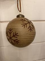 Glaskugel Holzoptik mit Glitzerstern braun dia 8cm
