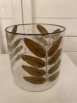 Glasvase oder Windlicht mit eingegossenen Blättern dia dia 15cm h 15cm