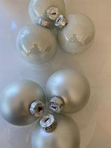 6 Glaskugeln winter white matt und glänzend dia 8cm