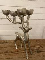 Hirsch silber stehend Kerzenständer für Teelicht 29x19cm