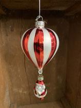 Glaskugel Ballon mit Weihnachtsmann 15cm