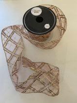 Dekoband blush pink transparent Raute Muster 2,7m lang 6,3cm breit