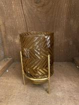 Windlicht retro gold dia 9cm h 17cm