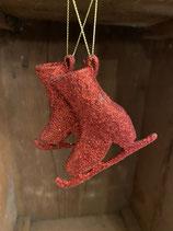 Glitzerschlittschuhe rot 7cm