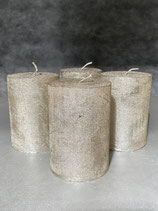 4 Kerzen durchgefärbt platin lackiert 70/100mm Brennzeit 45Std