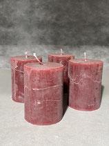4 Kerzen durchgefärbt bordeaux 60/80mm Brennzeit 28Std