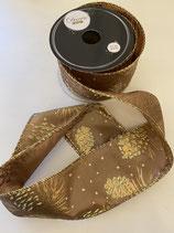 Dekoband gold mit Zapfen Muster 2,7m lang 6,3cm breit