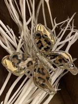 Schmetterling mit Klammer Leopard/gold 14x13cm