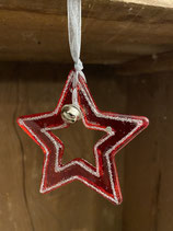 Glastern rot/silber mit Glocke und Glitzer 3,5x3,2cm