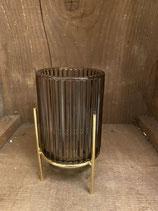 Windlicht retro braun mit Längsstreifen dia 9cm h 17cm