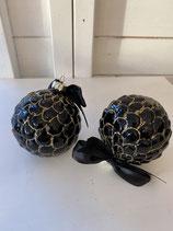 2 Glaskugeln Schwarz mit Gold und Schleife dia 8cm