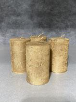4 Kerzen durchgefärbt altgold 50/80mm Brennzeit 20Std