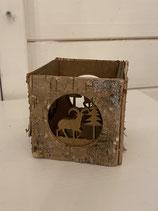 Teelicht viereckig Holz 8x8cm