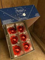 6 Glaskugeln Christmas Red glänzend dia 6cm