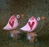 Glasdekor-Teelicht-Vogel