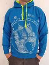 Unisex Hoodie blau/gelb weiß