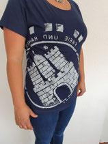 Damen T-Shirt dunkelblau/weiß