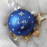 XL Weihnachtskugel mit Namen 10cm blau matt Sterne-all-over-Design