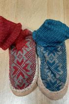 pantoufles chaussettes en laine- semelle en cuir, Litha