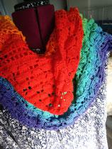 Gehaakte regenboog sjaal
