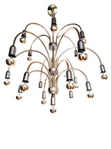 Italian Golden / Silver eighteen arms Chandelier, 1970s