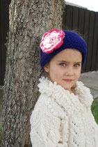 Candy Violet & Pink  Knit Headband, ear warmer with a crochet flower.